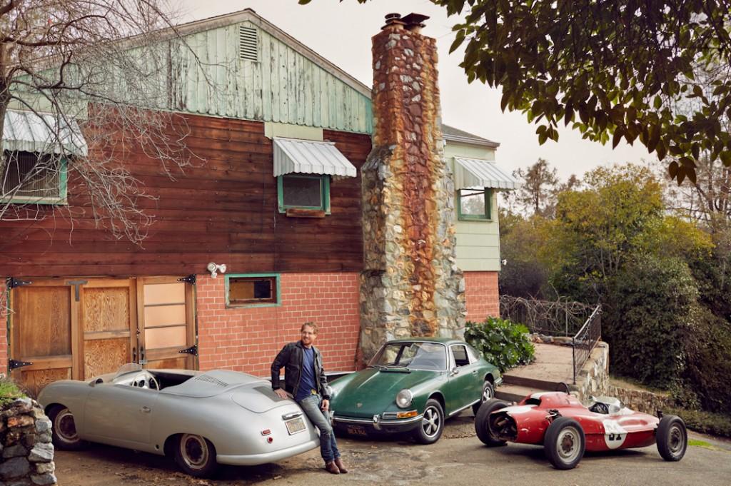 Matt Hummel with his 1952 Porsche 356 Cabriolet, 1966 Porsche 912, and 1964 Beach Formula Vee, Auburn, Ca