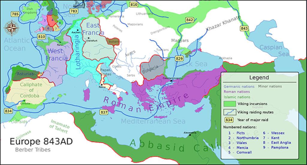 Vikinglerin yağmalarını gösteren bir harita